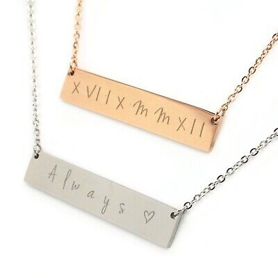 Custom Personalised Engraved Name Date Bar Necklace Rose Gold Silver Bridesmaid  ()