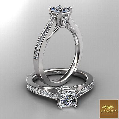 Trellis Style Channel Bezel Set Princess Cut Diamond Engagement GIA D VS2 0.80Ct