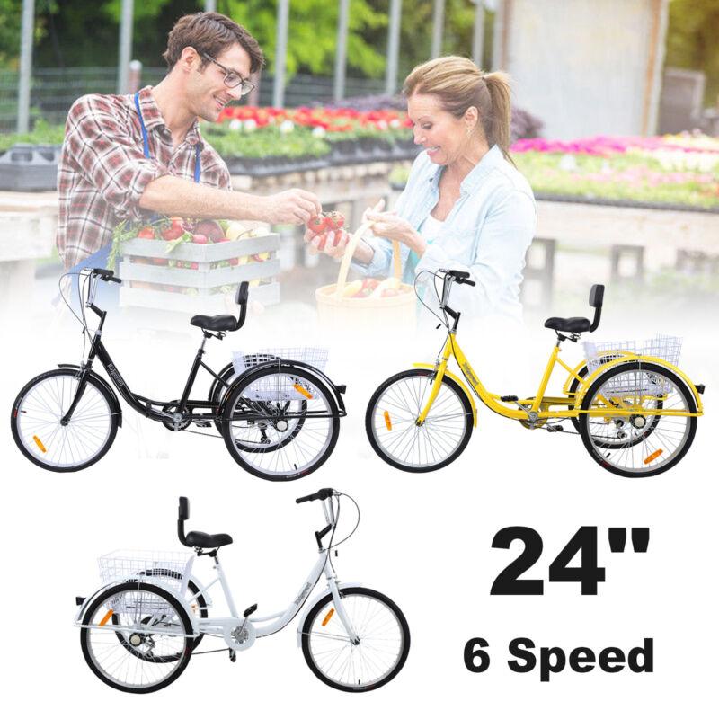 """Shimano 7-Speed 24"""" Adult 3-Wheel Tricycle Bicycle Trike Cru"""