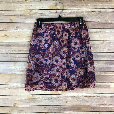 (Mossimo Juniors Skirt Woven Mini Elastic Waist Pull On A Line Floral Print XS)