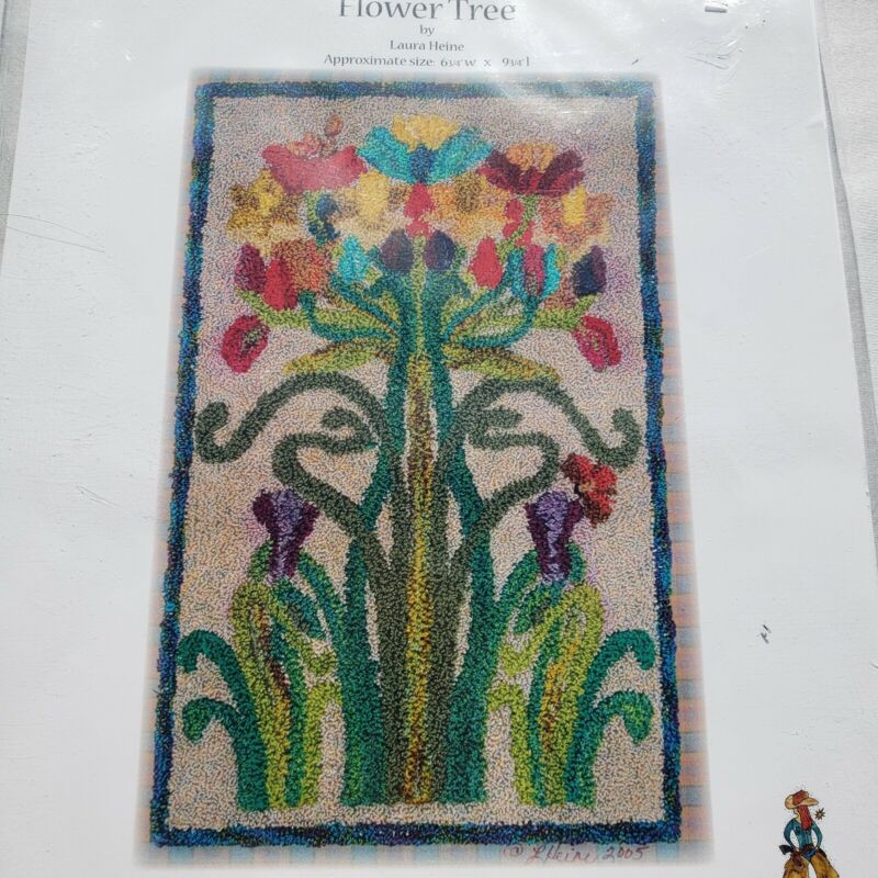 Flower Tree Punch Needle Embroidery Laura Heine Pattern and Fabric