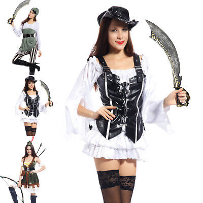 Sexy Damen Piraten Kostüm Piratin Kleid Seeräuber Karneval Halloween (Sexy Damen Piraten Kostüme)