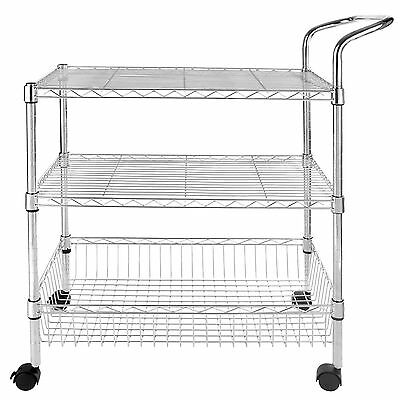 3-tier Wire Rolling Kitchen Utility Cart Trolley Rack Food Service With Handle