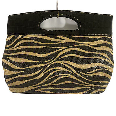 Franco Sarto Zebra Print Straw & Leather Handbag Purse Hand Held Small Tote