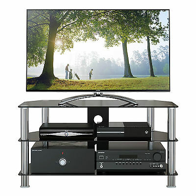 "GT4 Black Glass TV Stand for 32""-60"" LCD LED 3D Plasma Slim 100cm width"
