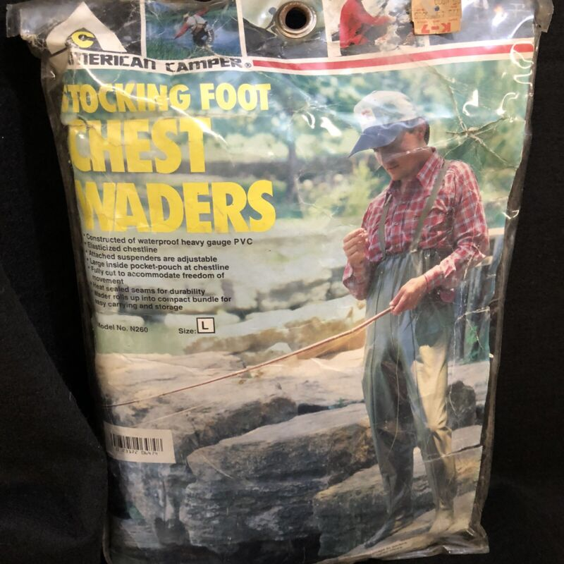 American Camper Fly Fishing Stocking Foot Chest Wader Size L  Model No. N260 NEW