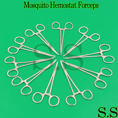 10 Pcs Mosquito Hemostat Locking Forceps 5 Curved Stainless Steel
