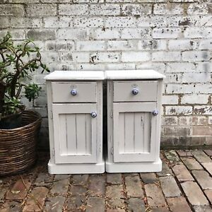 Shabby Chic Rustic White Bedside Table Pair