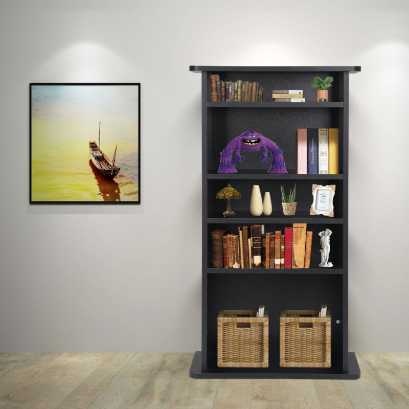 Multimedia Storage Cabinet DVD Rack Book Shelf Organizer Stand Audio Media Tower