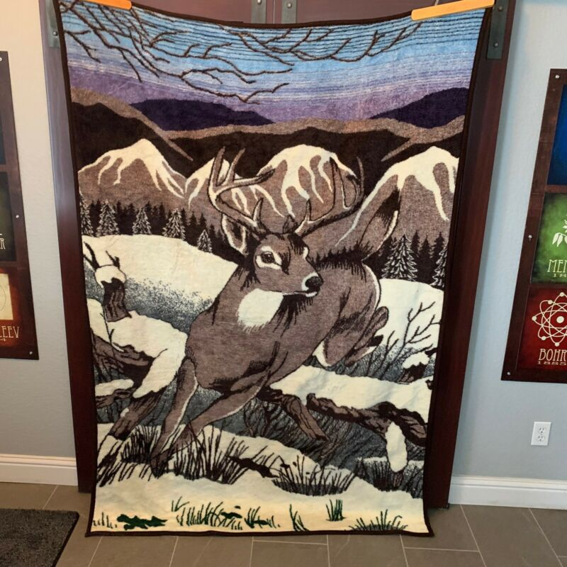 """Vintage Clean San Marcos Reversible Blanket Deer Black Brown Blue 56 x 85"""" Warm"""