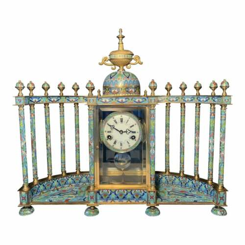 GILT CLOISONNE ENAMEL MANTLE CLOCK