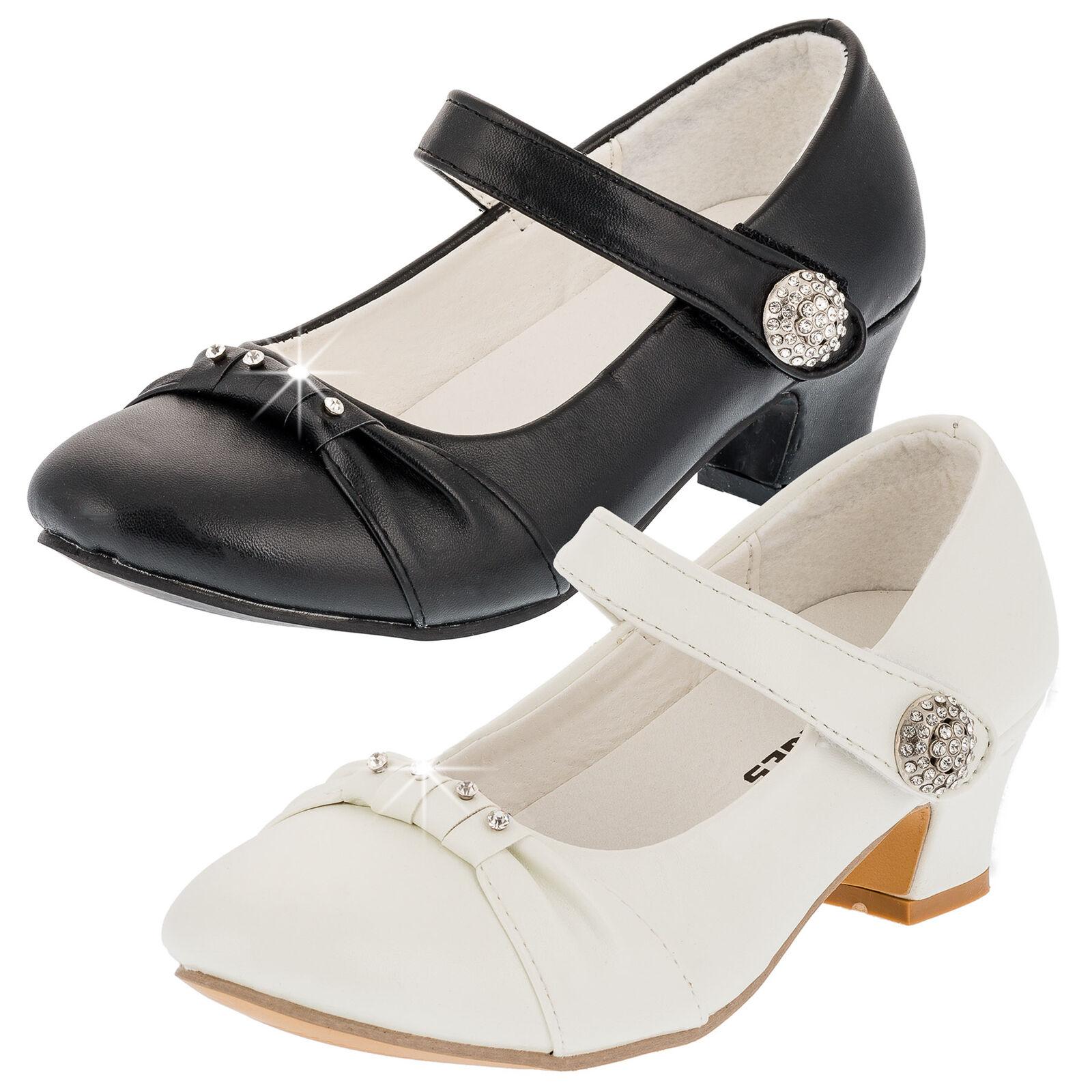 ecddf2463c76ab Festliche Mädchen Pumps Ballerinas Schuhe Absatz Strass Kommunion Hochzeit  ...