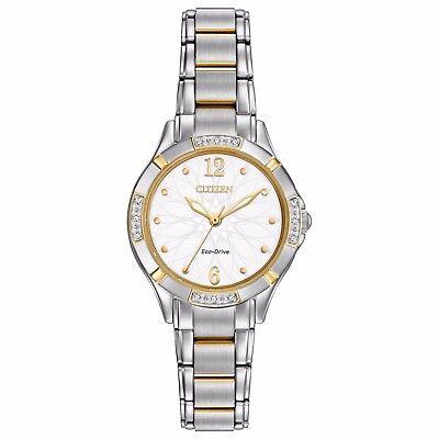 Citizen Eco-Drive Women's EM0454-52A  Floral Motif Dial Two-Tone 29mm Watch