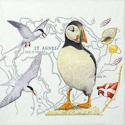 20x Luxury Lunch Table Paper Napkins Party, Decoupage - Puffin