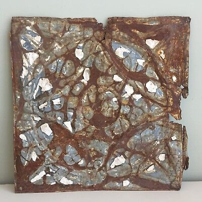 Antique Distressed Decorative Metal Tile Original Blue Paint Rusted Patina 31cm