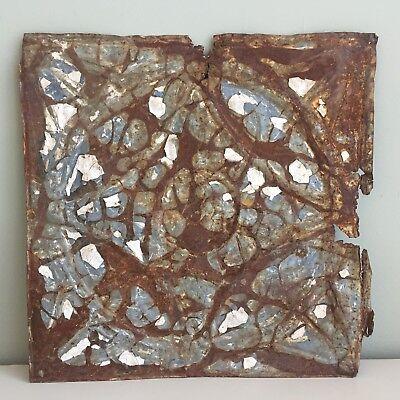 Antique Distressed Decorative Metal Tile Original Blue Paint Rusted Patina 31cm