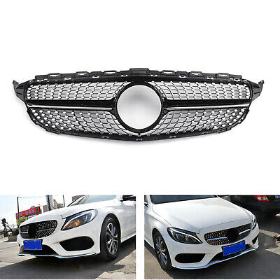 New Front Diamond Grill Grille For Benz W205 C Class C250 C300 C400 2015-2018 US
