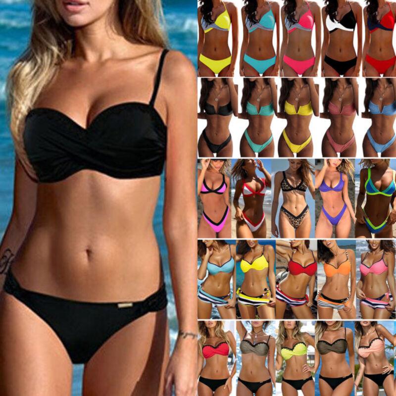 Damen Zweiteiligen Bikini Set Push Up Gepolstert Badeanzug Bademode Schwimmanzug