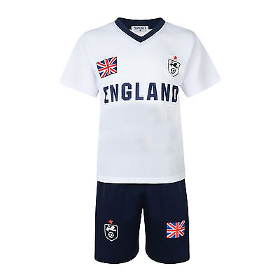 BOYS FOOTBALL KIT SHORT SET ENGLAND WHITE/NAVY 2-13years BNWT #ENGLAND