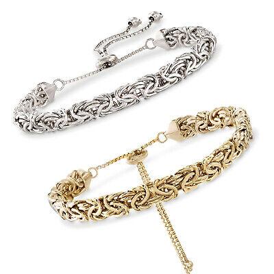 Adjustable Flat Byzantine Link Bracelet Snake Chain 10K Yellow Gold  ()