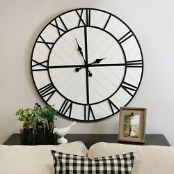 Big Oversized Rustic Country Wall Clock White Black Accent Modern Roman Numerals