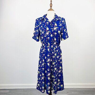 80s Dresses | Casual to Party Dresses Vintage Kitly Womens Tea Day Dress Blue Floral Short Sleeve Size 10 $30.92 AT vintagedancer.com