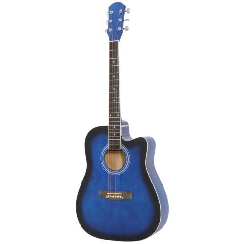 41″ Full Size Beginner Acoustic Cutaway Guitar w/Case Strap Capo Strings Blue Acoustic Guitars