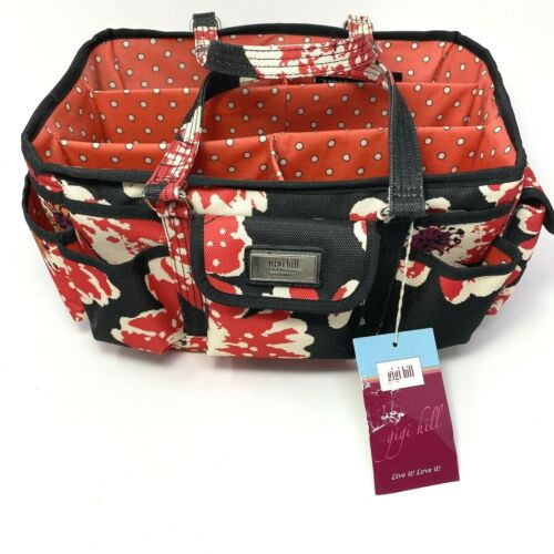Gigi Hill Red White Black The Adrienne Bloom Floral Craft Gardening Tote Bag