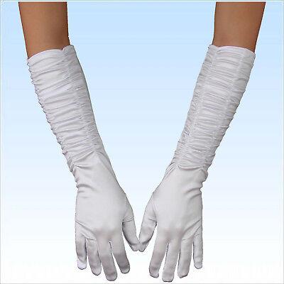 Brauthandschuhe Alice Satin weiß gerafft extra lang Handschuhe Braut Hochzeit