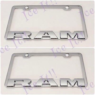 2X 3D RAM Raised Emblem Black Stainless Steel License Plate Frame