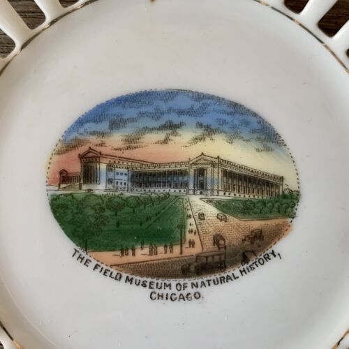 Vintage FIELD HISTORY MUSEUM Collectible Souvenir Ribbon Plate CHICAGO Illinois