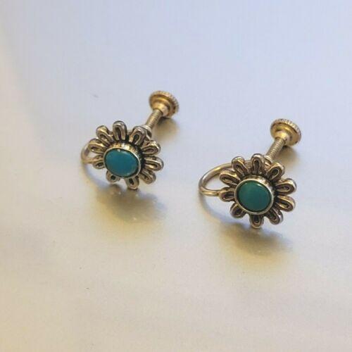 VTG Sterling Silver Southwestern Turquoise Screw-Back Earrings