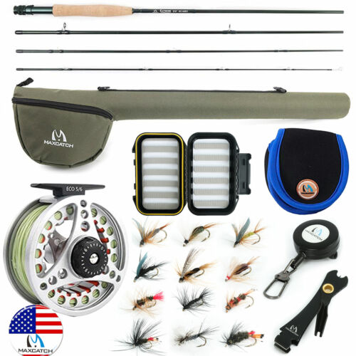 Maxcatch Extreme 3/4/5/6/7/8WT Fly Fishing Rod Outfit/Combos Fly Reel,Line,Flies