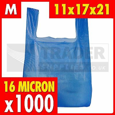 1000 x Medium Blue Plastic Vest Carrier Bags Supermarket 11x17x21in Tear Resist
