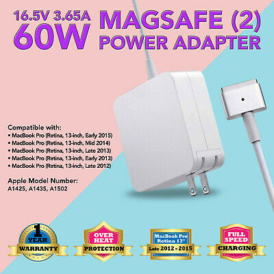 """60W Power charger Adapter for Apple MacBook pro 13"""" (Cmptbl with Magsafe2 A1435)"""