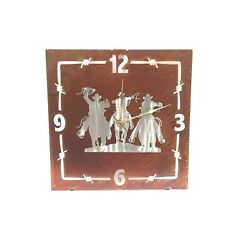Rustic Western Roundup Wall Clock Home Accent Decor Metal Lazart Ranch Copper