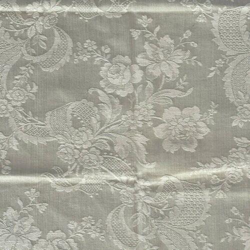 Antique French c.1920 Mint Green Cotton Floral & Lace Ribbon 36x22 Cotton Damask
