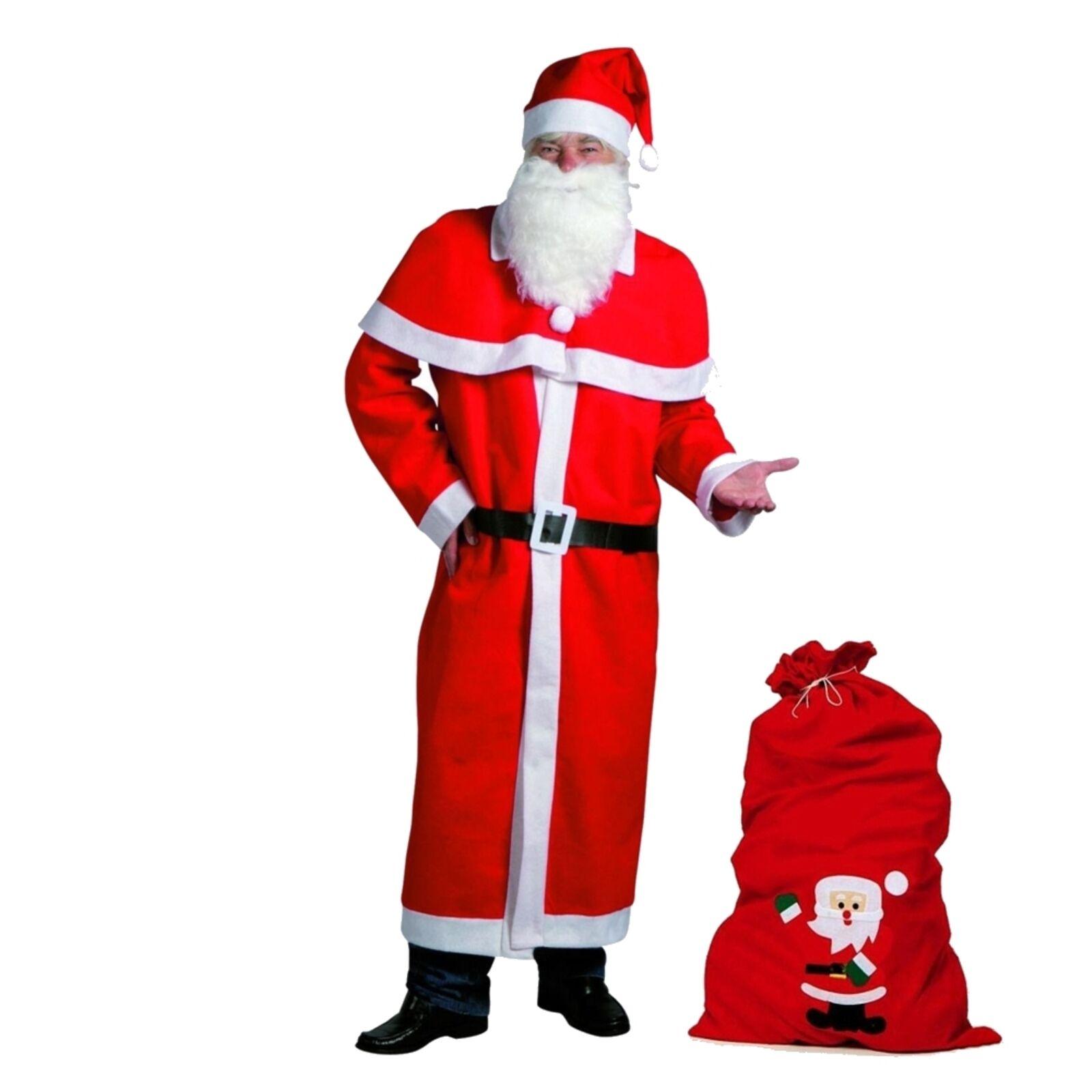 Weihnachtsmann Mantel Kostüm-Set 6-teilig mit großem Filzsack Nikolaus
