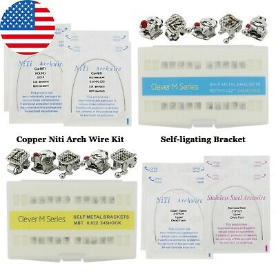 Dental Orthodontic Self-ligating Bracket Copper Niti Arch Wire Kit Roth Mbt 022