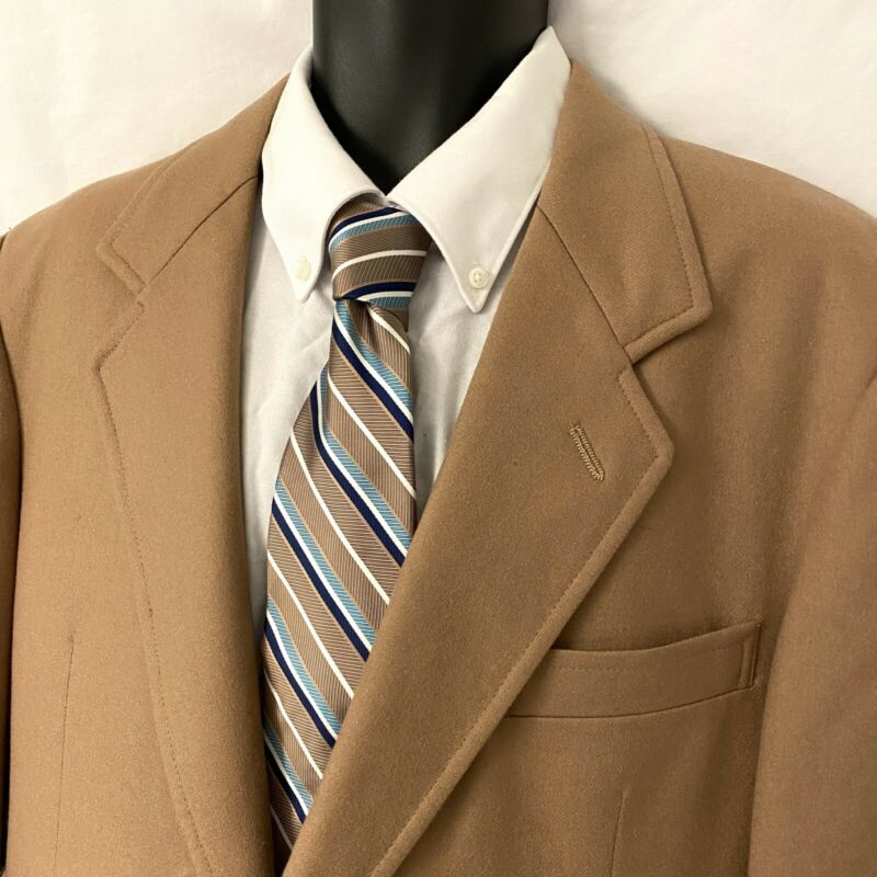 Vintage 42L Mens PENDLETON Sport Coat Blazer Jacket Light Brown Wool
