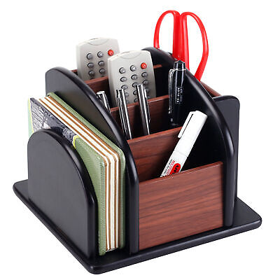 6-compartment Wood Rotating Remote Caddy Desktop Office Supply Organizer Holder