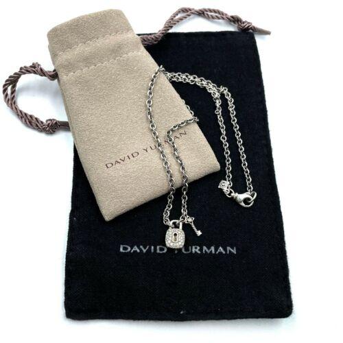 David Yurman Lock And Key Necklace Sterling Silver Pave Diamond 0.19
