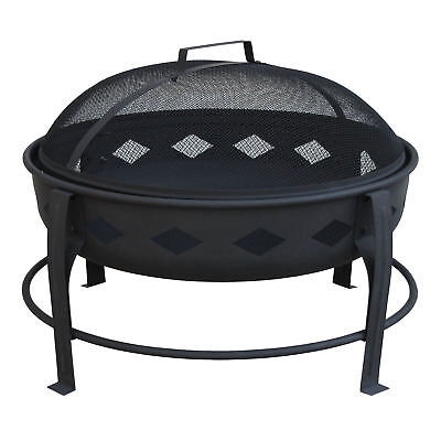Landmann Bromley Diamond Pattern Steel Outdoor Patio Fire Pit, Black | 21860
