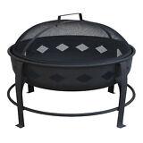 Landmann Bromley Diamond Pattern Steel Outdoor Patio Fire Pit, Black | 21860