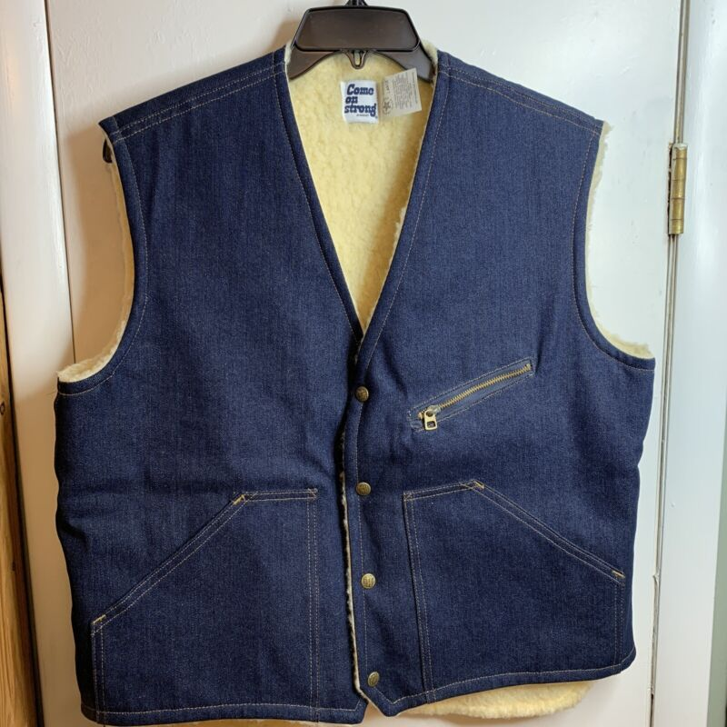 Vintage Come on Strong Denim Shearling Lined Snap Up Vest Mens L