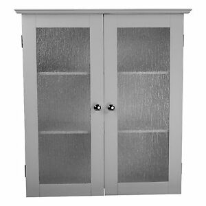 connor white bathroom storage wall cabinet w 2 textured glass doors