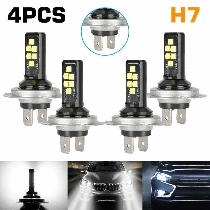 4PCS Combo H7 + H7 LED High Low Beam Headlight Kit Fog Bulbs 240W 52000LM 6000K