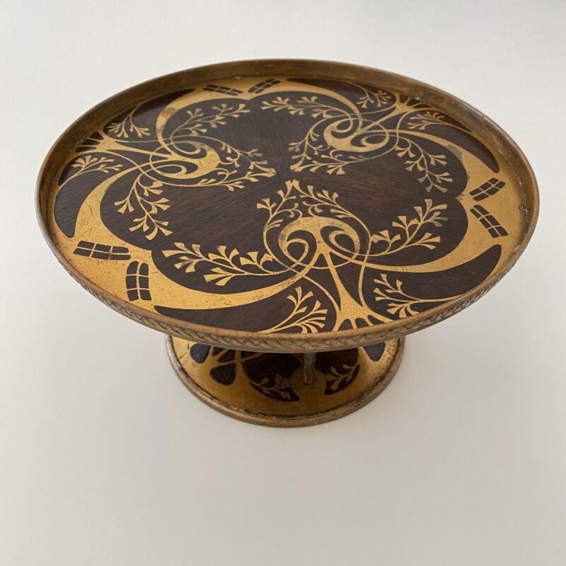 Jugendstil Art Nouveau Erhard & Sohne Brass Inlay Wood Tazza