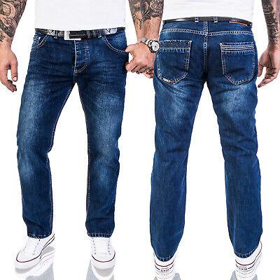 Wash Designer Jeans (Lorenzo Loren Herren Jeans Designer Jeans Herrenhose Dunkelblau Stonewash LL-328)