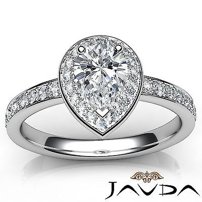 Cathedral Halo Pave Set Pear Cut Diamond Engagement Ring GIA Color F VS1 1.17Ct 3